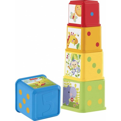 Fisher-Price Stack and Explore Blocks, Baby stacking Toy with Different Numbers, Colours, Textures and Objects, 6 Months Plus