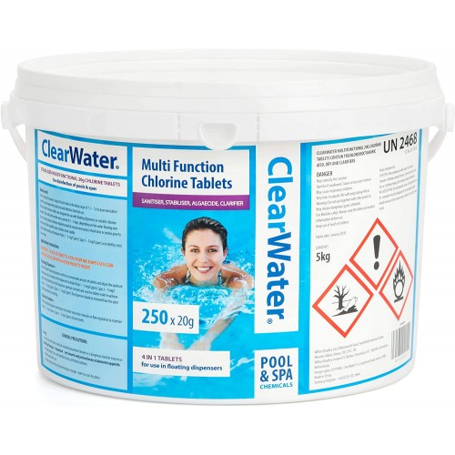 Clearwater 5kg Chlorine Swimming Pool Spa Mini 4 in 1 Multi Tablets 20g x250