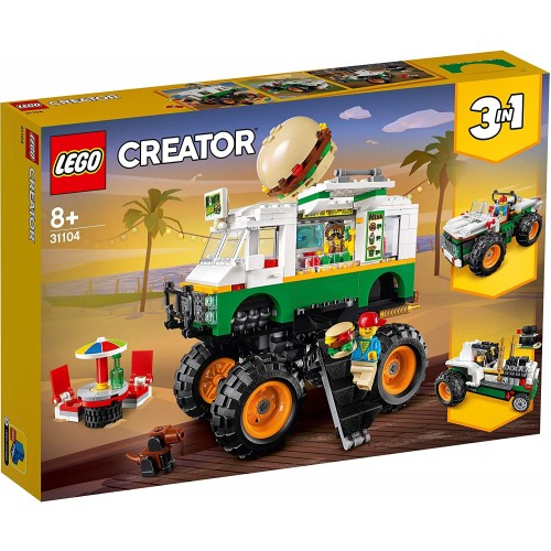 LEGO 31104 Creator 3-in-1 Monster Burger Truck Toy, Off Roader, Tractor Hauler Building Set, Vehicle Collection