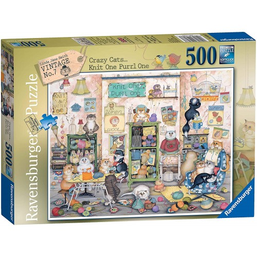 Ravensburger Crazy Cats No.7 - Knit one, Purrl one 500 Piece Jigsaw Puzzle