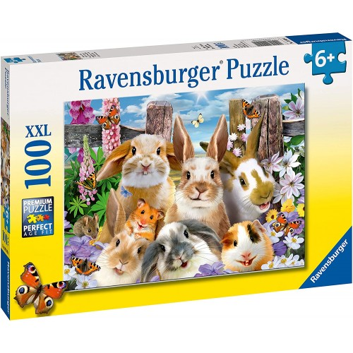 Rabbit Selfies 100 piece Jigsaw Puzzle with Extra Large Pieces for Kids age 6 years and up
