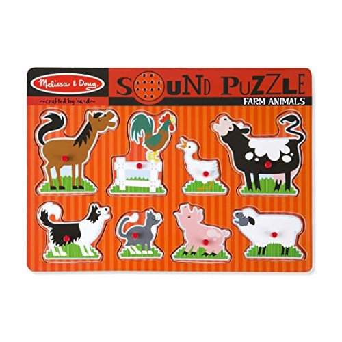Melissa & Doug Wooden Animals Sound Puzzle Assortment
