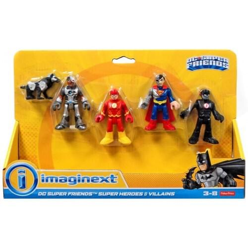 Fisher Price DC Super Friends Imaginext Heroes & Villains Cyborg, Robo Dog, Cyborg Superman, The Flash & Black Flash 3-Inch Mini Figure 5-Pack