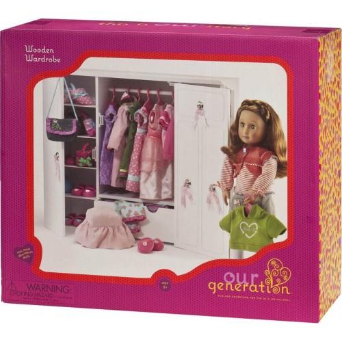 "Our Generation Dolls Wooden Wardrobe Doll, 18"""