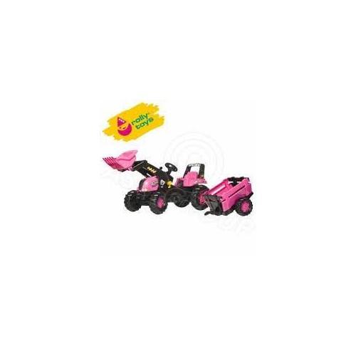 Rolly Pink Junior Tractor, Loader & Farm Trailer (81310)