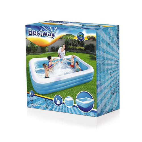 Bestway Rectangular Deluxe Inflatable Family Paddling Swimming Pool 10ft / 3m