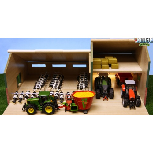 KIDS GLOBE CATTLE AND MACHINERY SHED 1:32 SCALE