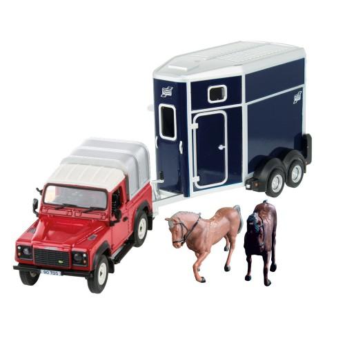 Britains 1:32 Land Rover Horse Set Farm Playset, Collectable Farm Set for Children