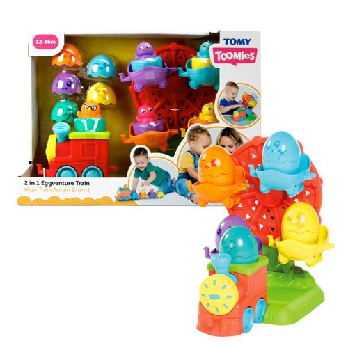 Toomies TOMY Hide and Squeak 2 in 1 Eggventure Train Baby Toy, Educational Shape Sorter with Colours and Sound, Toy for Babies, Baby Push-Along Toy for Baby Boys and Girls Aged 1, 2 and 3 Years Old