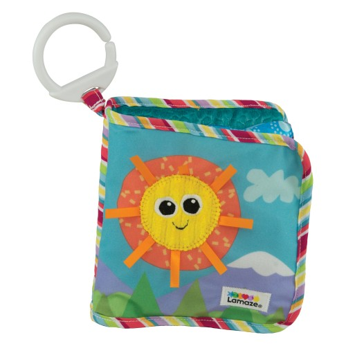 LAMAZE Classic Discovery Soft Book, Baby Books from Birth with Clip on Pram, Textured Baby Sensory Toy with Bright Colours Suitable for Babies Boys and Girls from 0 to 6 Months