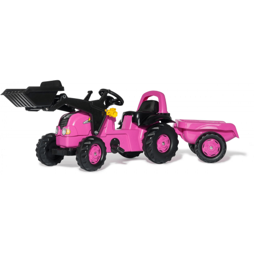 Rolly Pink Tractor with Loader and Trailer