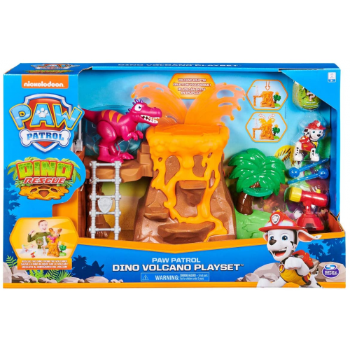 PAW PATROL 6059772 Dino Rescue Volcano Playset with Zipline and 3 Exclusive Figures