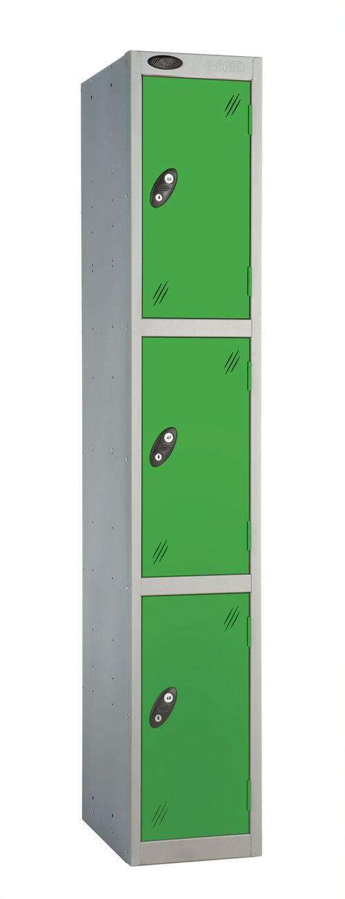 3 Compartment locker silver/green