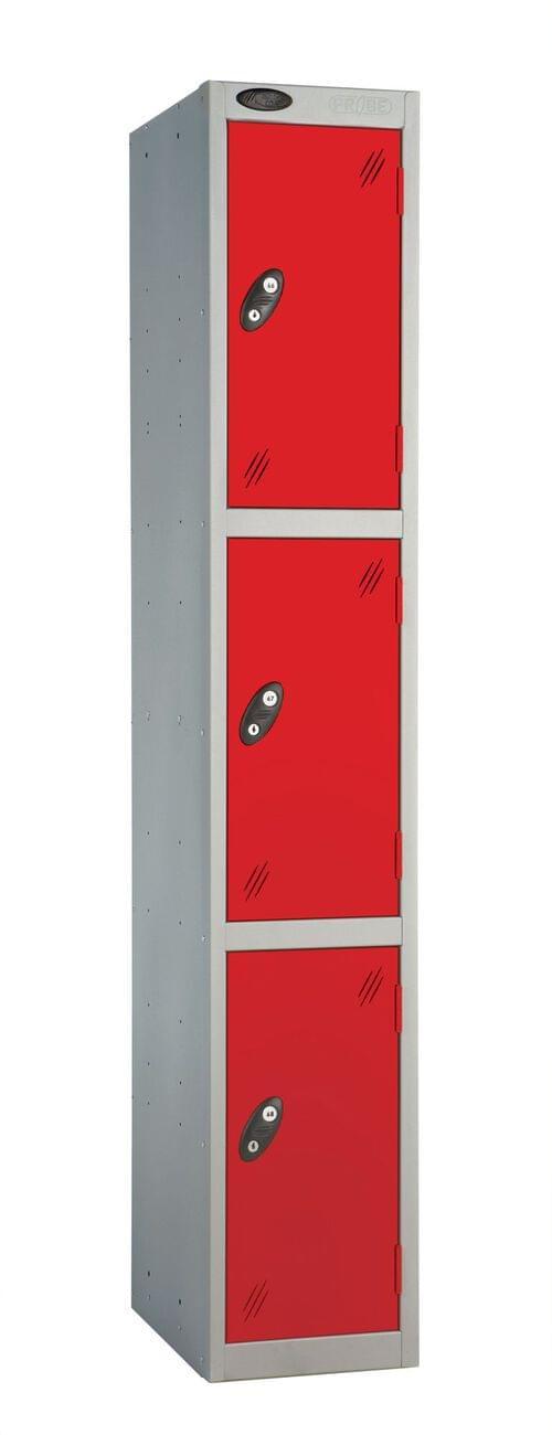 3 Compartment locker silver/red