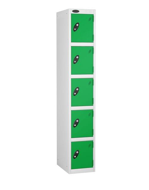 5 Compartment locker white/green