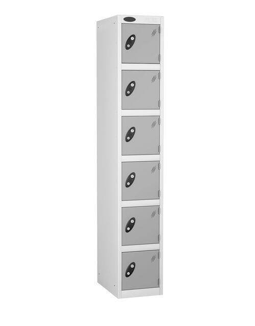 6 Compartment locker white/silver