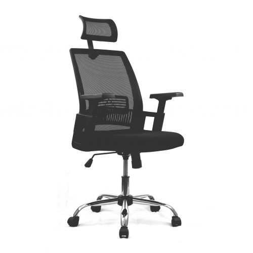 Alpha - High Back Mesh Chair with Headrest and Chrome Base - Black