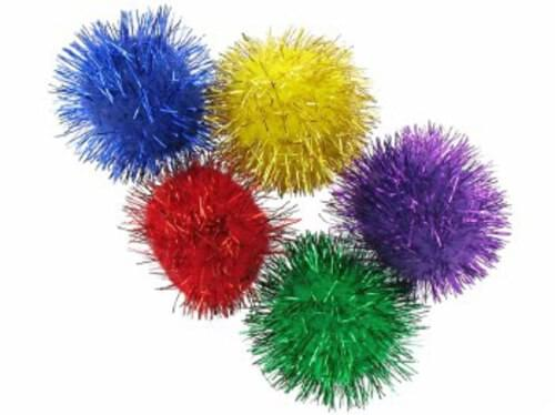 Pom-Poms Glitter Assorted Colours 30mm (Pack of 24)