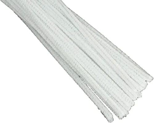 """Chenille Pipe Cleaners 12"""" Length White (Pack of 25)"""