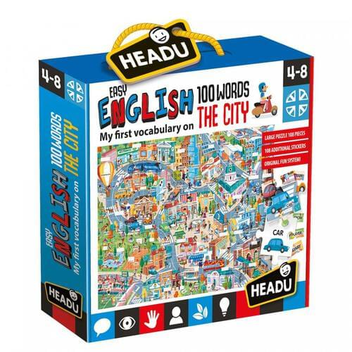 Easy English 100 Words City - 1st Vocabulary Jigsaw Puzzle & Educational Game