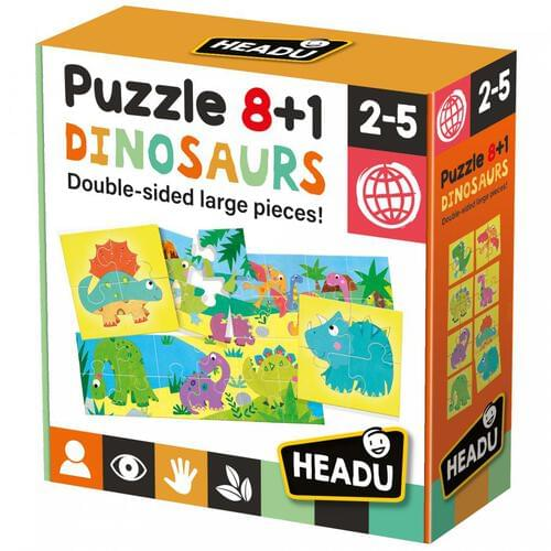Dinosaurs Double Sided 8+1 Jigsaw Puzzle & Educational Game