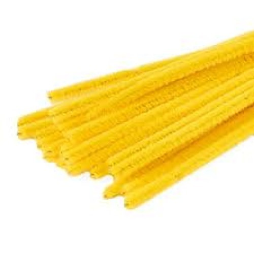 """Chenille Pipe Cleaners 12"""" Length Yellow (Pack of 25)"""