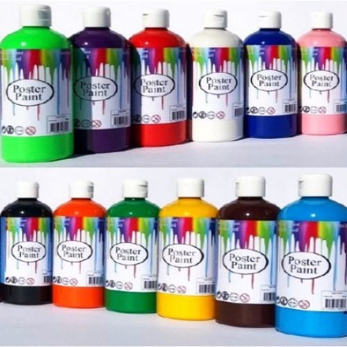 Poster Paint Set of 10 Assorted Colours 500ml (Pack of 10)