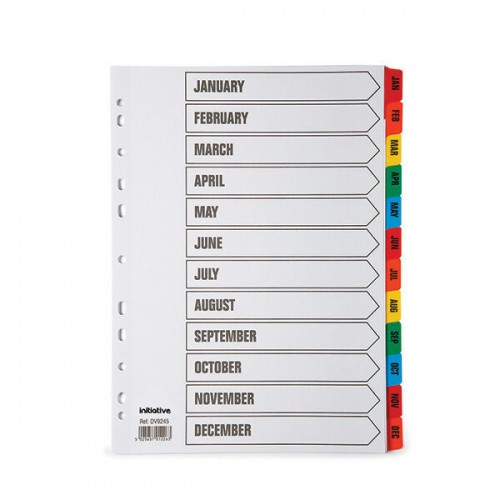 January - December Subject File Filing Dividers A4 Coloured Index Tabs