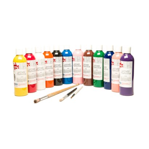 Scola Washable Ready Mixed Paint - 500ml - Assorted - Pack of 12