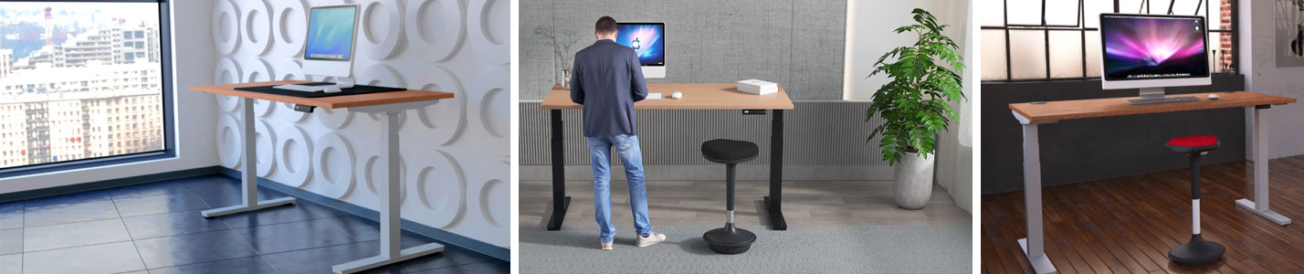 Sit and stand height adjustable desk