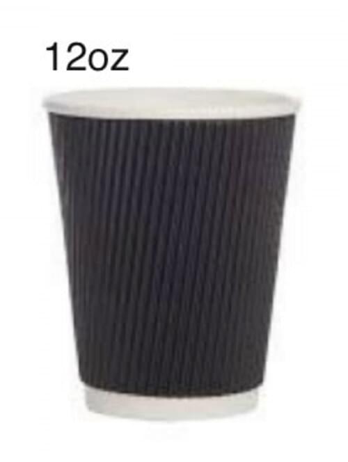 12oz Ripple Cups Black (Pk 500)